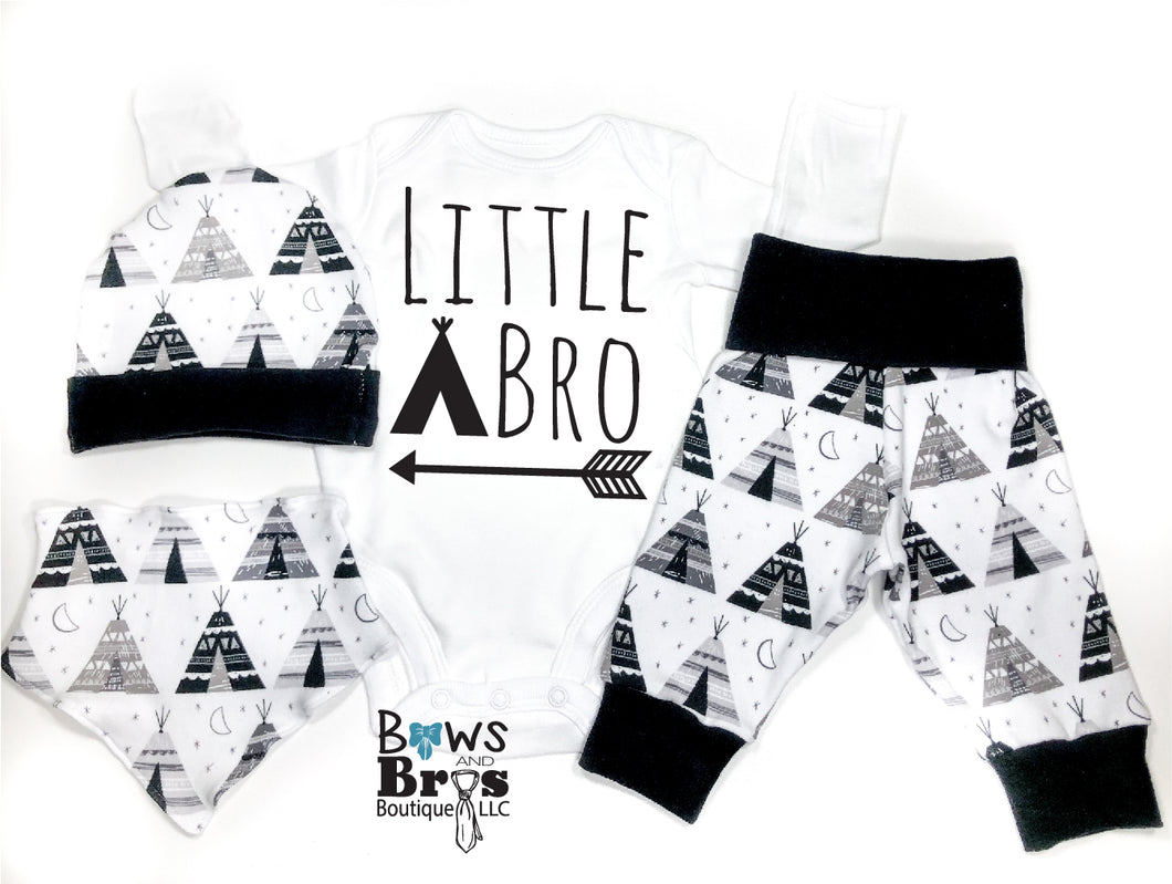 Little Bro Tee Pee Arrow Camping Baby Boy Coming Home Outfit - 1,2,3 or 4 Piece Set - Bows and Bros Boutique LLC