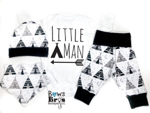 Little Man Tee Pee Arrow Camping Baby Boy Coming Home Outfit - 1,2,3 or 4 Piece Set - Bows and Bros Boutique LLC