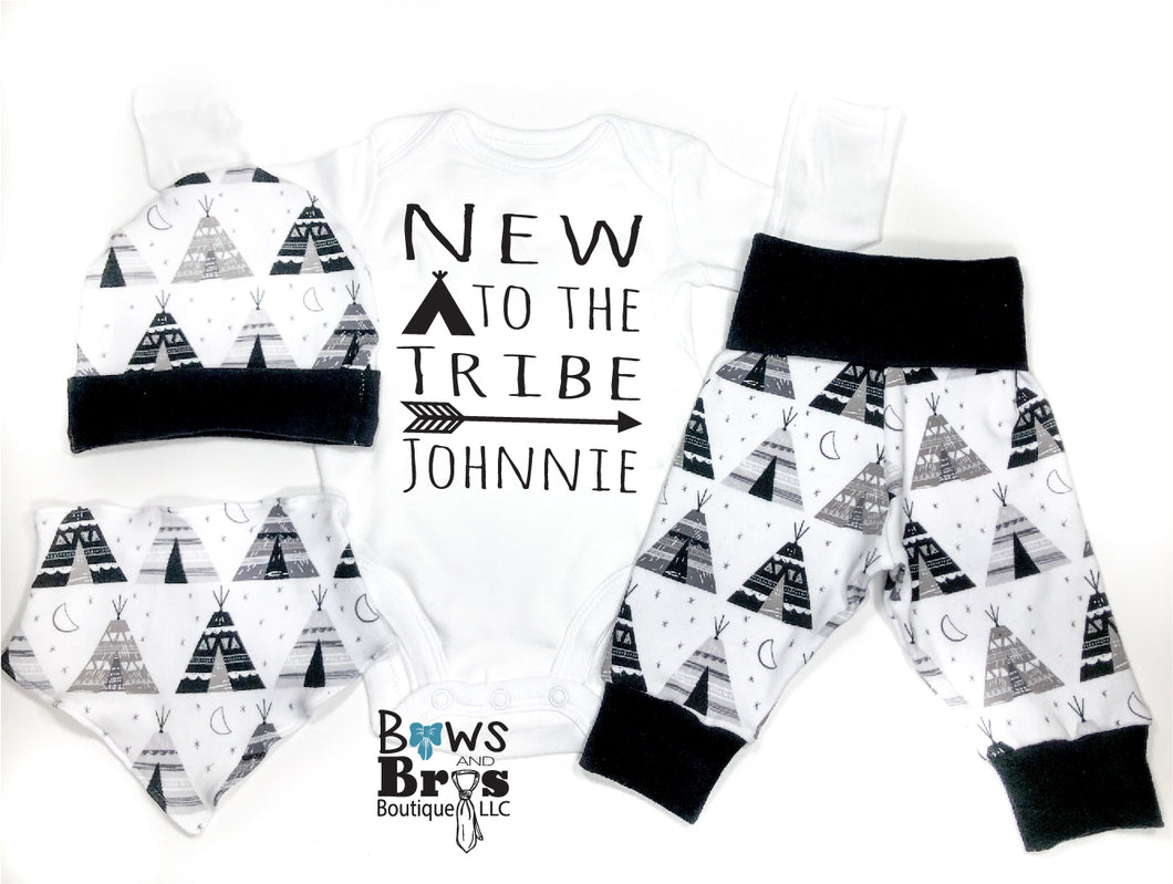 Custom Name New To The Tribe Tee Pee Arrow Camping Baby Boy Coming Home Outfit - 1,2,3 or 4 Piece Set - Bows and Bros Boutique LLC