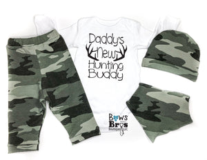 Daddy's New Hunting Buddy Camo Baby Boy Coming Home Outfit - 1,2,3 or 4 Piece Set - Bows and Bros Boutique LLC