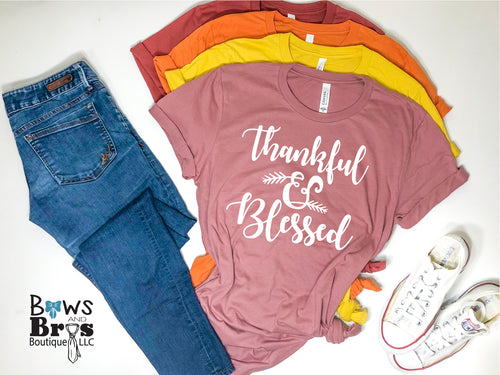 Thankful & Blessed Fall Women's Tee, Thanksgiving Women's Tee - Bows and Bros Boutique LLC