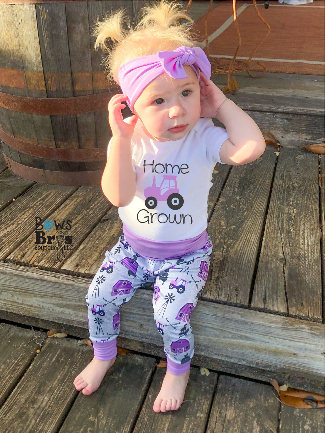 Home Grown Purple Baby Girl Farm Coming Home Outfit - 1,2,3,4 or 5 Piece Set - Bows and Bros Boutique LLC