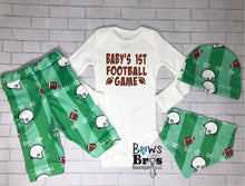 Load image into Gallery viewer, Custom Name First Football Game Baby Boy Coming Home Outfit- 1,2,3 or 4 Piece Set - Bows and Bros Boutique LLC