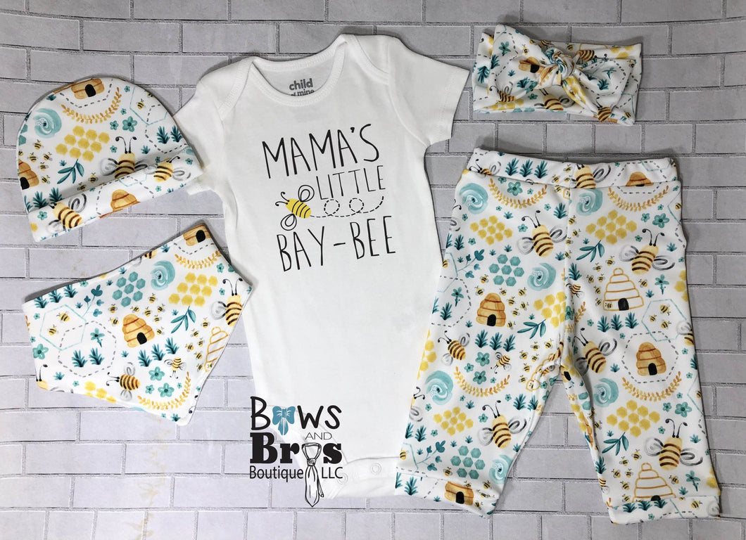 Mama's Little Bay Bee Bumble Bee Coming Home Outfit- 1,2,3,4 or 5 Piece Set - Bows and Bros Boutique LLC