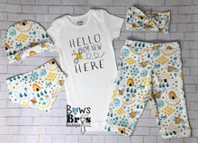 Load image into Gallery viewer, Hello I'm New Here Bumble Bee Coming Home Outfit- 1,2,3,4 or 5 Piece Set - Bows and Bros Boutique LLC