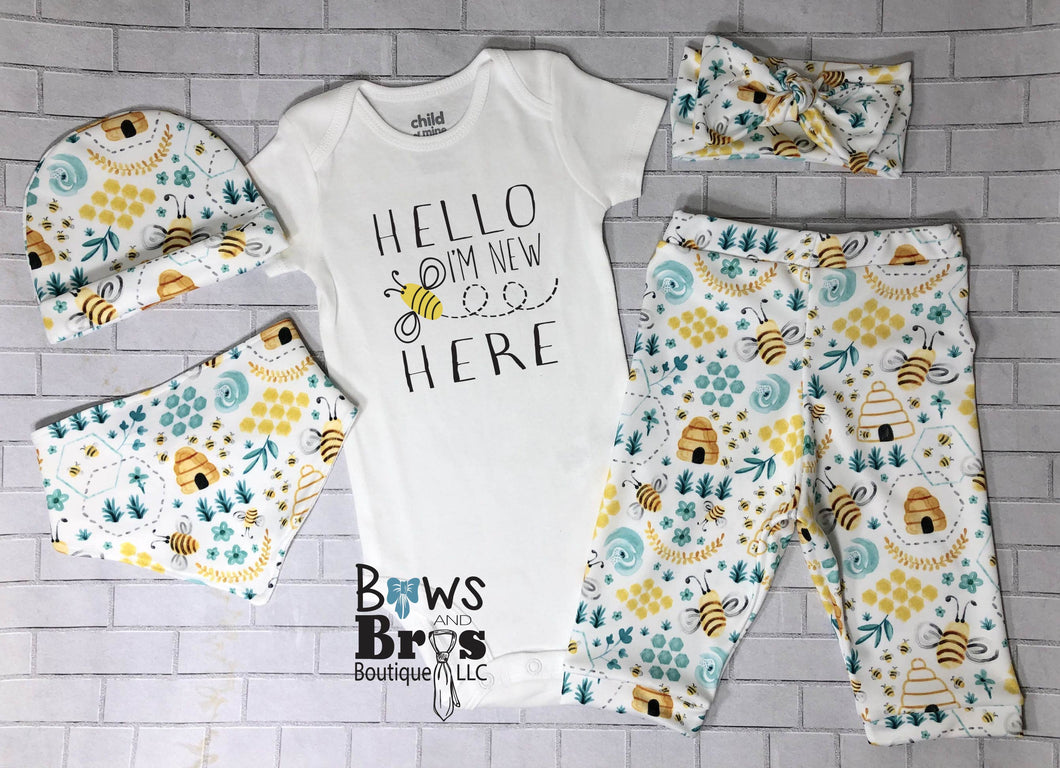 Hello I'm New Here Bumble Bee Coming Home Outfit- 1,2,3,4 or 5 Piece Set - Bows and Bros Boutique LLC