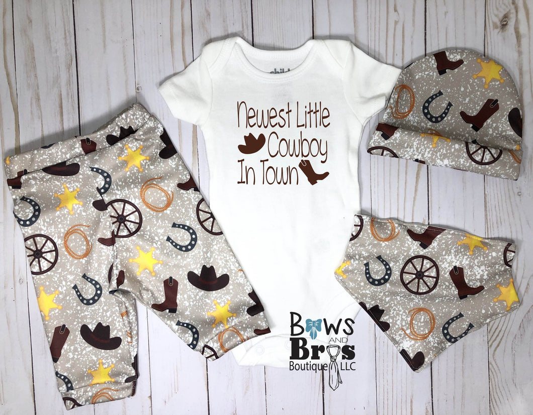 Newest Little Cowboy In Town Boys 4 Piece Cowboy Outfit Set