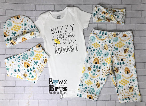 Buzy Beeing Adorable Bumble Bee 5 Piece Outfit Set