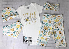 Load image into Gallery viewer, Little Bee Custom Name Bee Coming Home Outfit- 1,2,3,4 or 5 Piece Set - Bows and Bros Boutique LLC