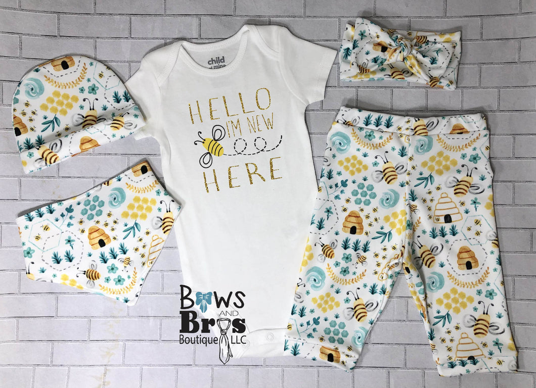 Hello I'm New Here Gold Glitter Bee Coming Home Outfit- 1,2,3,4 or 5 Piece Set - Bows and Bros Boutique LLC