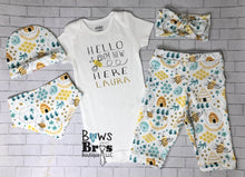 Load image into Gallery viewer, Hello I'm New Here Custom Name Bee Coming Home Outfit- 1,2,3,4 or 5 Piece Set - Bows and Bros Boutique LLC