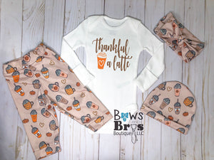 Thankful A Latte Baby Girl Fall Thanksgiving Outfit - Bows and Bros Boutique LLC