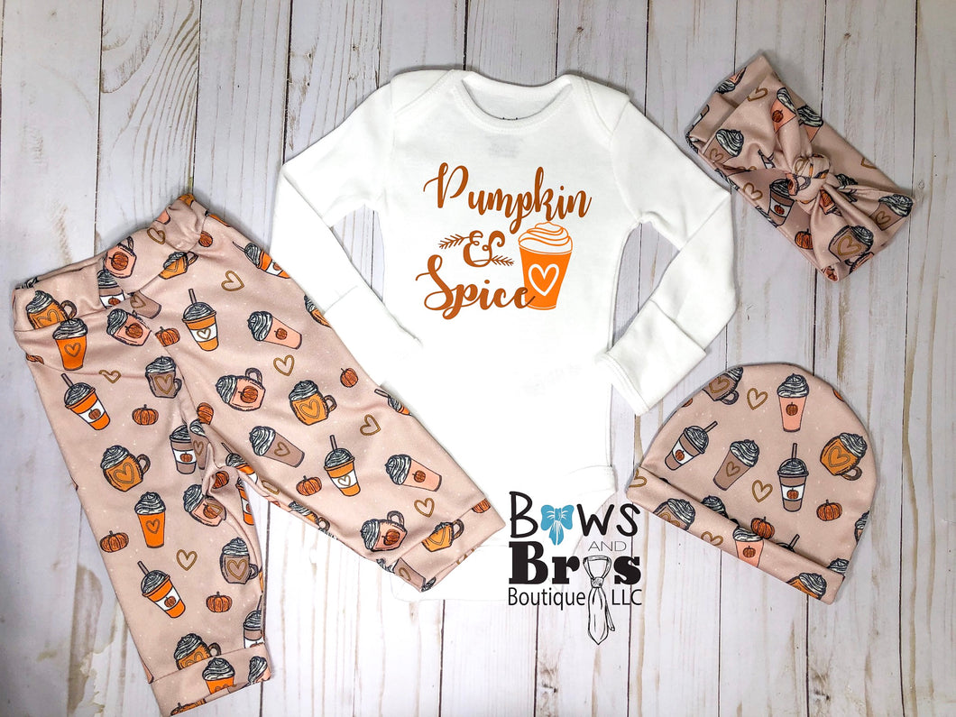 Pumpkin and Spice Baby Girl Fall Thanksgiving Outfit - Bows and Bros Boutique LLC