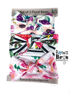 Set of 3 Floral Bows; Pink Rose Bow, Striped Floral Bow, Purple and Teal Floral Bow. - Bows and Bros Boutique LLC