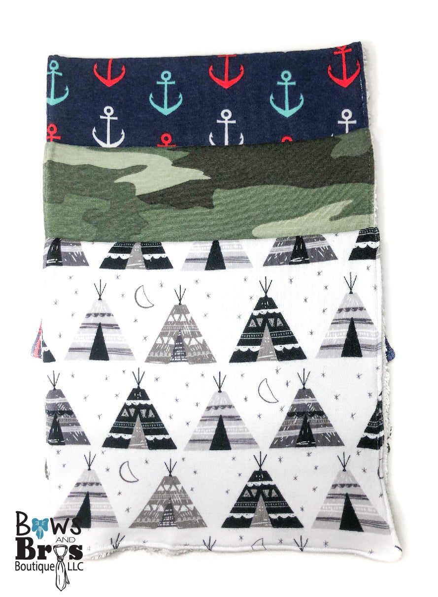 Set of 3 Burp Cloths Tee Pee Camo and Anchors, Pick 1 or select all 3. - Bows and Bros Boutique LLC