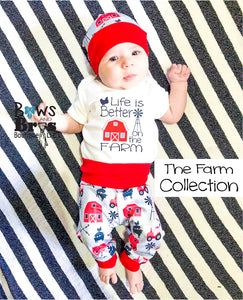Life is Better On The Farm Red Farm Gender Neutral Coming Home Outfit- 1,2,3,4 or 5 Piece Set