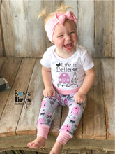 Load image into Gallery viewer, Life Is Better On The Farm Baby Girl Pink Farm Coming Home Outfit - 1,2,3 or 4 Piece Set - Bows and Bros Boutique LLC