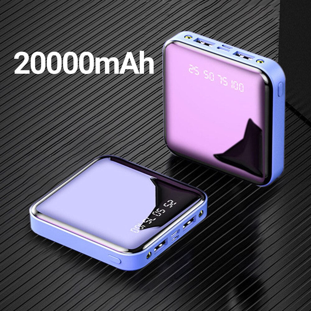 20000mAh Mini Portable Power Bank Charging Mobile Phone LED Mirror Back Mobile power External Battery Pack Powerbank