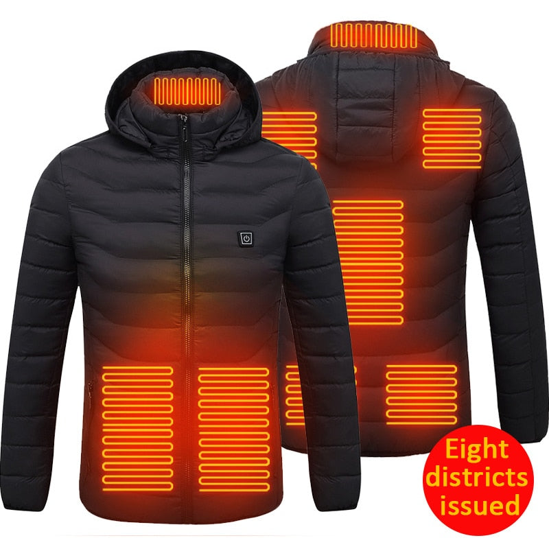 High Quality Men Women Heated Jackets Outdoor Vest Coat USB Electric Battery Long Sleeves Heating Hooded Jackets Warm Winter