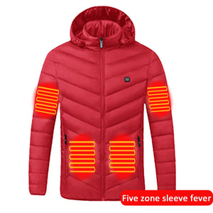 Electric Heated Jacket Outdoor Electric Heated Vest USB Heating Vest Winter Thermal Cloth Feather Camping Hiking Warm Hunting
