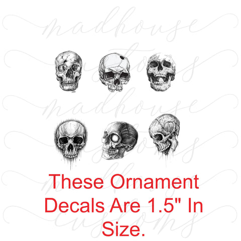 B&W Skulls-Ornament Decals-Digital Download