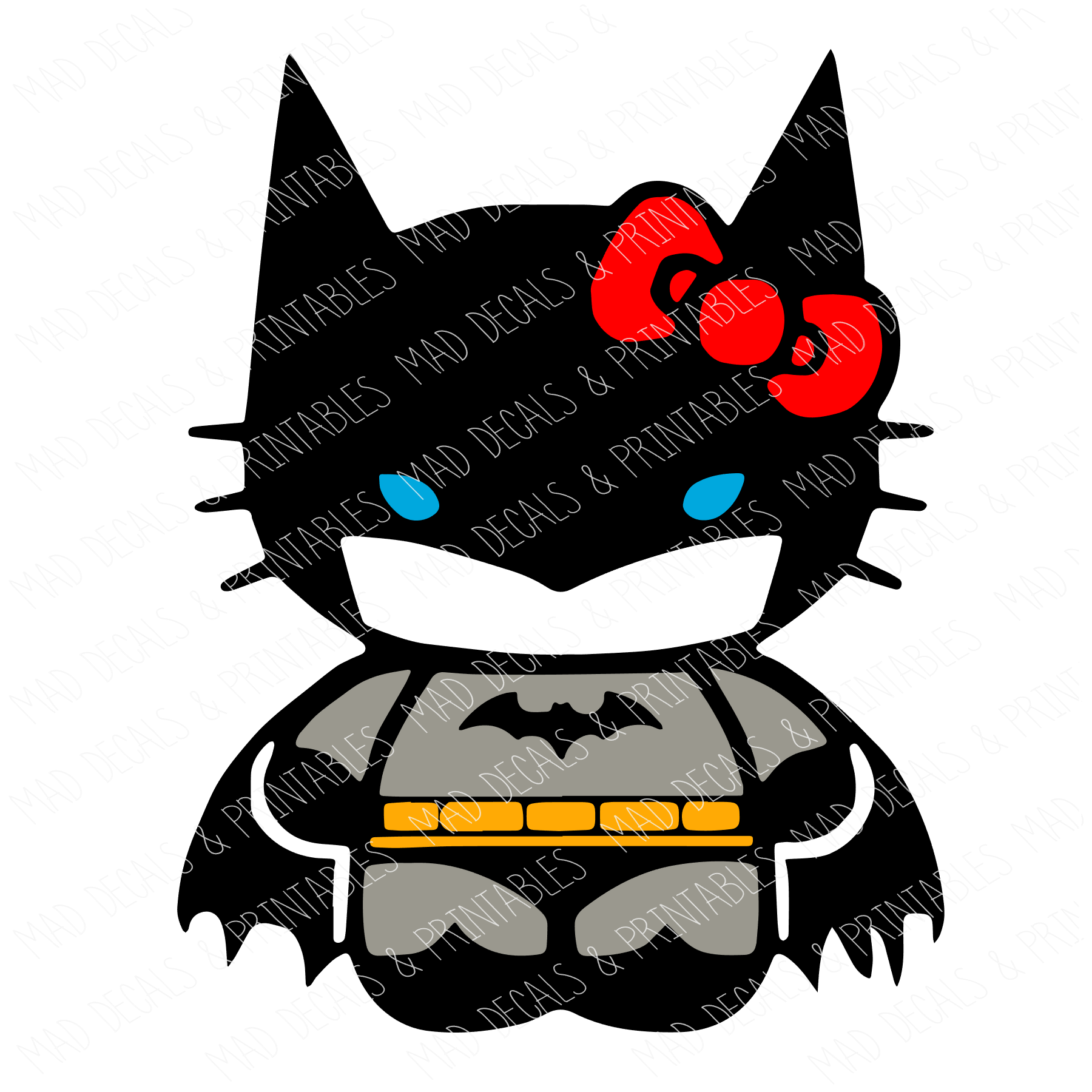 BatCat-Yellow Belt & Red Bow-Digital Download
