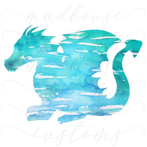 Blue Watercolor Dragon