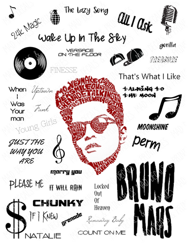 Bruno Mars-Tumbler Fan Sheet