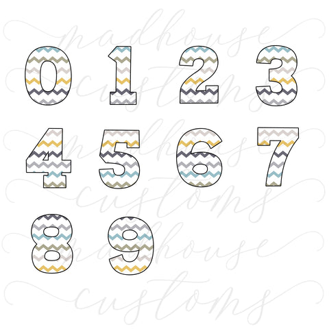Chevron Number Set-Digital Download