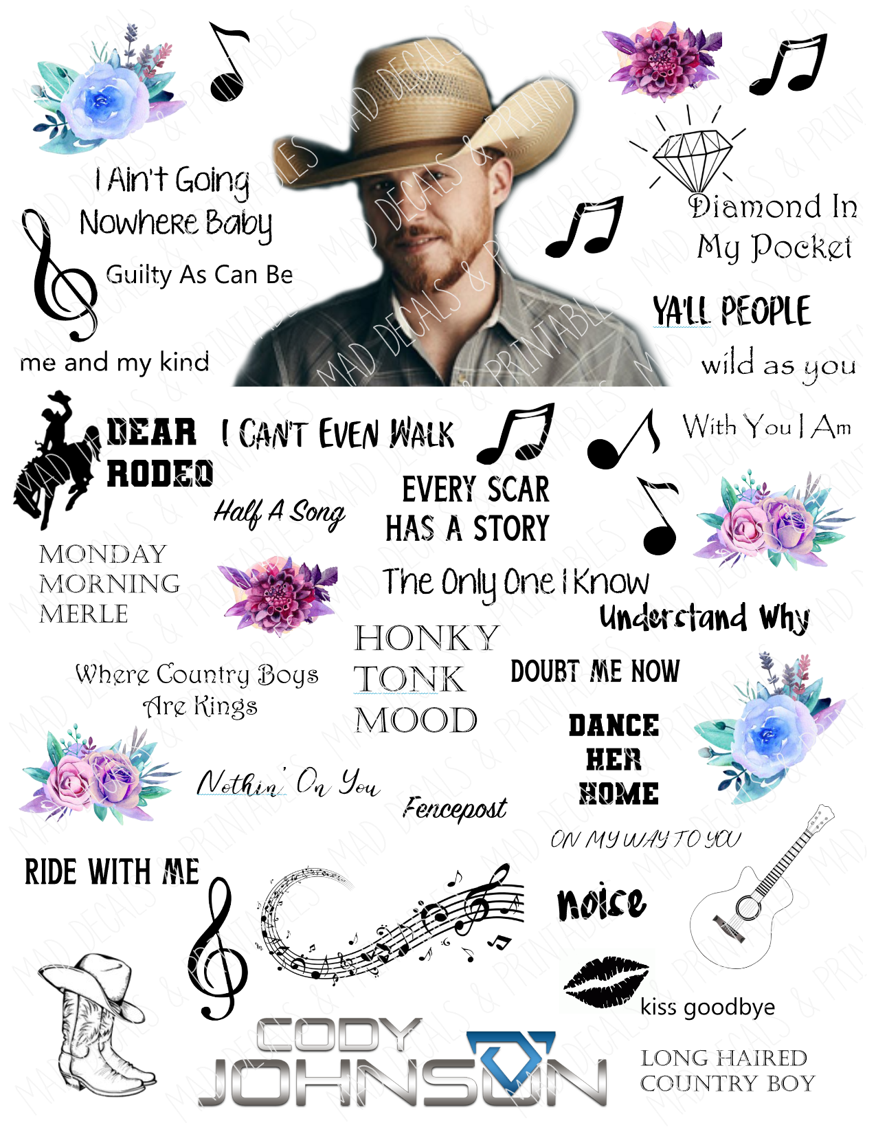 Cody Johnson-Tumbler Fan Sheet-Digital Download