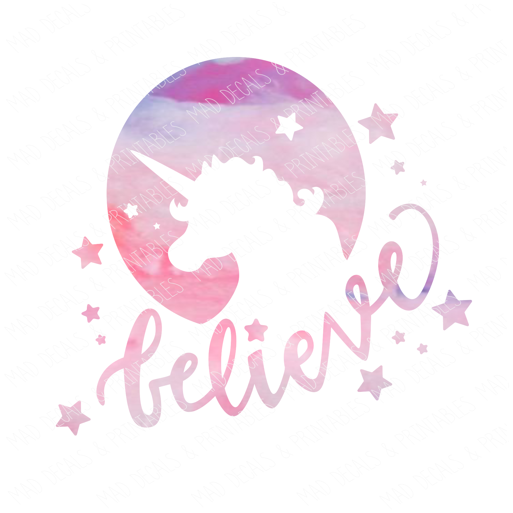Unicorn Silhouette-Believe