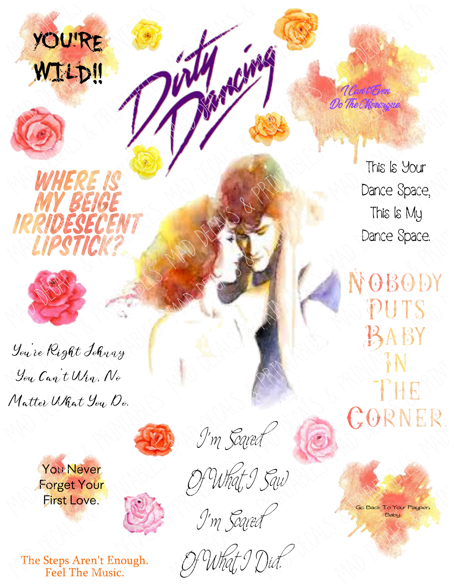 Dirty Dancing #1-Tumbler Fan Sheet-Digital Download