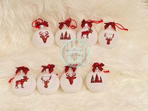 Set Of 8 Buffalo Plaid Ornaments**ON SALE**RTS**