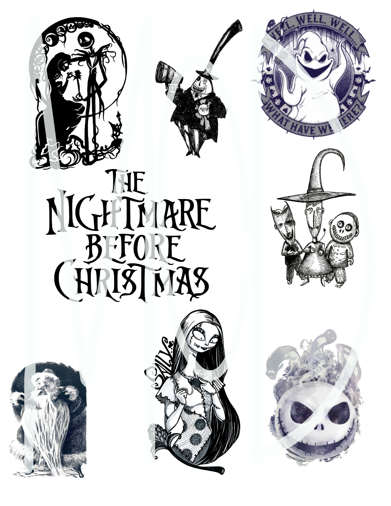 Nightmare Before Christmas Black & White Fan Sheet-DD