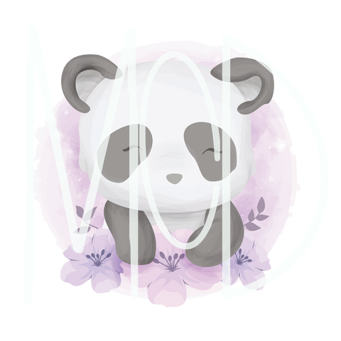 Panda W/Purple Watercolor Background