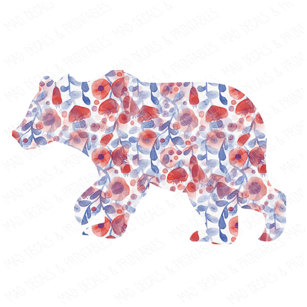 Red & Blue Floral Bear
