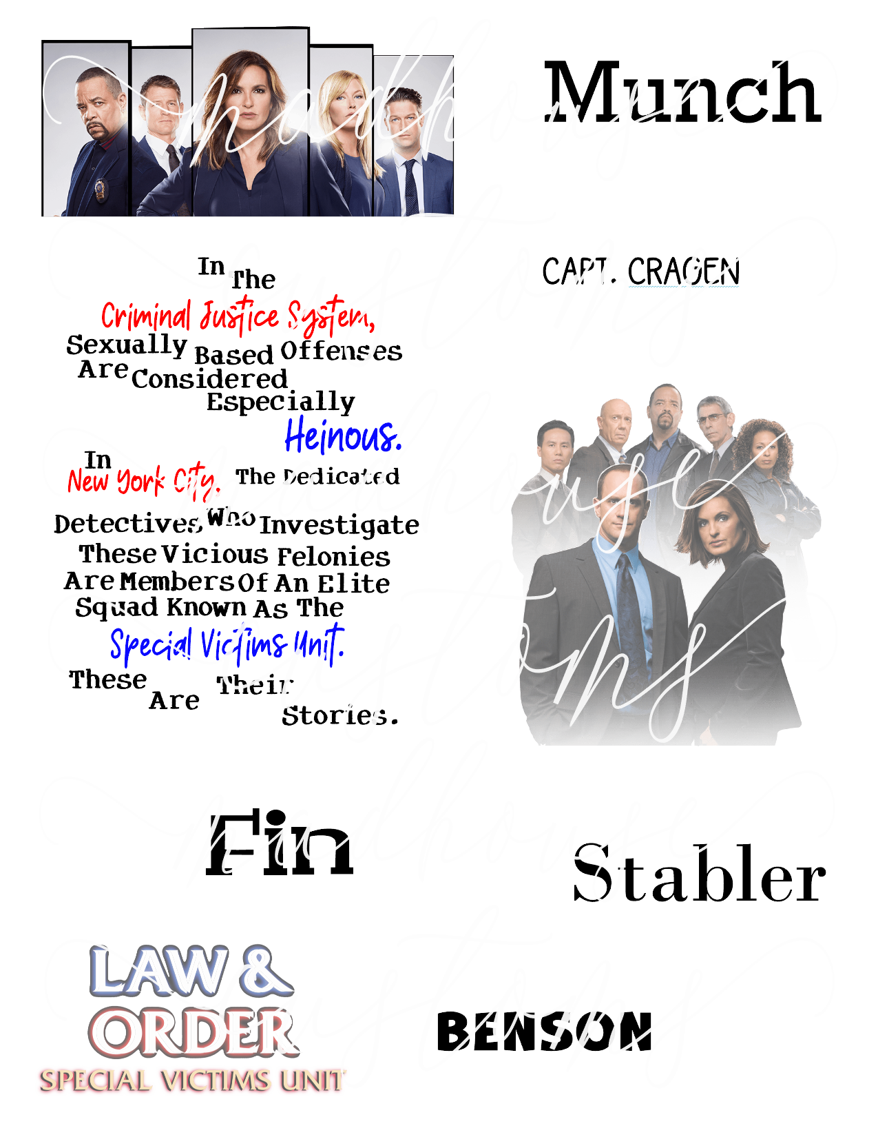 Law & Order SVU Fan Sheet-DD