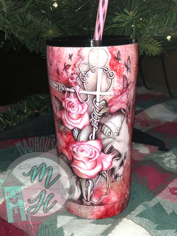 20 Oz. Pink Skulls & Roses Tumbler (RTS) *Ready To Sell*