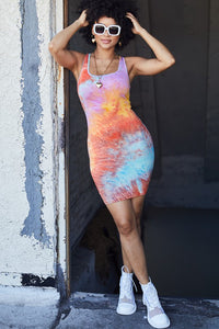 Tie-dye Print Bodycon Dress