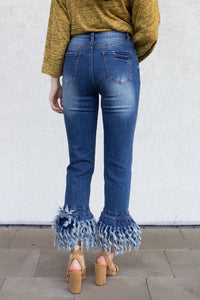Cropped Frayed Bottom Jeans