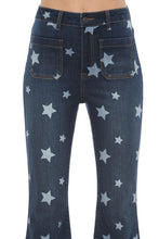 Load image into Gallery viewer, High Rise Star Print Flare Denim