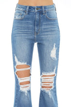 Load image into Gallery viewer, Distressed Super Flare Jeans