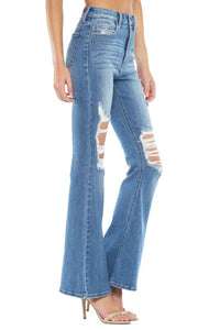 Distressed Super Flare Jeans