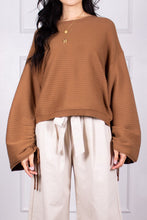 Load image into Gallery viewer, Ruched Sleeve Ribbed Sweater