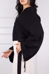 Ruched Sleeve Ribbed Sweater
