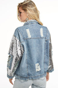 Distressed Denim Jacket w/ buttons