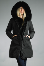 Load image into Gallery viewer, Reversible Fur Puffer Coat