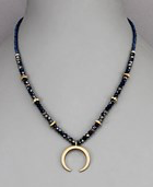 Navy Crescent Necklace