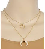 Tan &  Gold Cresent Necklace