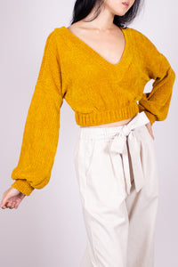 CHENILLE KNIT CROPPED TOP